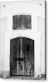 Spanish Fort Door Castillo San Felipe Del Morro San Juan Puerto Rico Prints Black And White Acrylic Print
