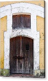 Spanish Fort Door Castillo San Felipe Del Morro San Juan Puerto Rico Prints Poster Edges Acrylic Print by Shawn O'Brien