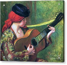 Spanish Girl With Guitar Acrylic Print by Pg Reproductions
