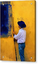 Spanish Man At The Yellow Wall. Impressionism Acrylic Print