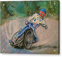 Speedway Rider Edinburgh Monarchs Acrylic Print by Richard James Digance