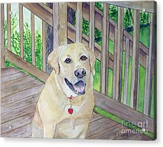 Acrylic Print featuring the painting Spencer On Porch by Carol Flagg