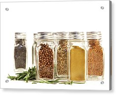 Spice Jars With Fresh Rosmary Leaves Against White Acrylic Print by Sandra Cunningham