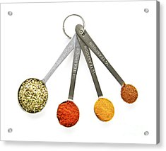 Spices In Measuring Spoons Acrylic Print by Elena Elisseeva
