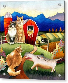 Spike The Dhog Meets Some Well Fed Barncats Acrylic Print by Anne Gifford