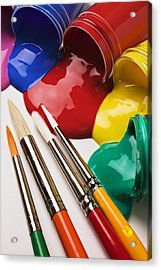 Spilt Paint And Brushes  Acrylic Print by Garry Gay