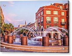 Splash Fountain In Waterfront Park Acrylic Print by Vanessa Kauffmann