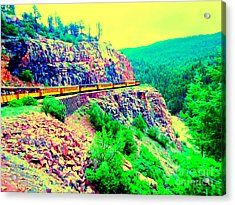 Acrylic Print featuring the photograph Splendid View From The Last Train Car by Ann Johndro-Collins