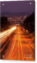 Spokane At Night Acrylic Print by Beve Brown-Clark Photography