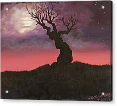 Acrylic Print featuring the painting Spooky Tree by Janet Greer Sammons