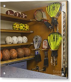 Sports Equipment Display Acrylic Print by Andersen Ross