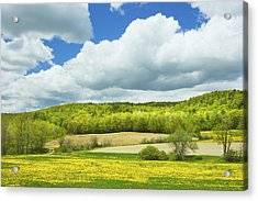 Spring Farm Landscape And Blue Sky In Maine Acrylic Print by Keith Webber Jr