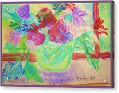 Vibrant Flowers In Pot Acrylic Print by Peggy Leyva Conley