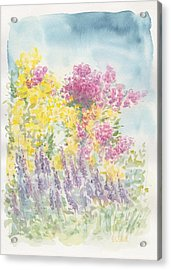 Acrylic Print featuring the painting Spring Garden by Jane  See