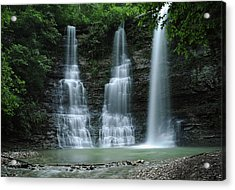 Acrylic Print featuring the photograph Springtime At Triple Falls by Renee Hardison