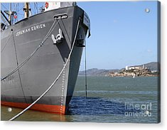 Ss Jeremiah Obrien Liberty Ship At Fishermans Wharf With Alcatraz In The Distance . Sf Ca . 7d14437 Acrylic Print by Wingsdomain Art and Photography