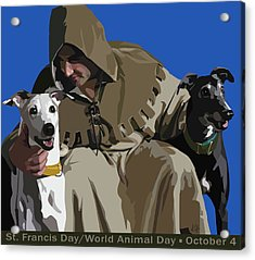 St. Francis With Two Greyhounds Acrylic Print