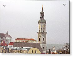 St. George In Snow - Freising Bavaria Germany Acrylic Print by Christine Till