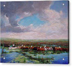 Acrylic Print featuring the painting St. John's Cows I by AnnaJo Vahle