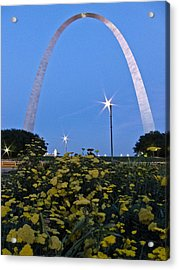 Acrylic Print featuring the photograph St Louis Arch With Twinkles by Nancy De Flon