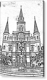 St Louis Cathedral And Fountain Jackson Square French Quarter New Orleans Photocopy Digital Art Acrylic Print by Shawn O'Brien