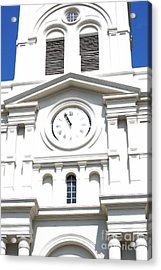 St Louis Cathedral Clock Jackson Square French Quarter New Orleans Diffuse Glow Digital Art Acrylic Print by Shawn O'Brien