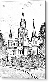 St Louis Cathedral Jackson Square French Quarter New Orleans Photocopy Digital Acrylic Print by Shawn O'Brien