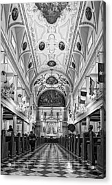 St. Louis Cathedral Monochrome Acrylic Print by Steve Harrington