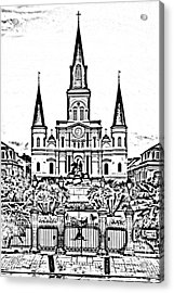 St Louis Cathedral On Jackson Square In The French Quarter New Orleans Photocopy Digital Art Acrylic Print by Shawn O'Brien