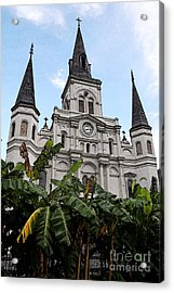 St Louis Cathedral Rising Above Palms Jackson Square New Orleans Fresco Digital Art Acrylic Print by Shawn O'Brien