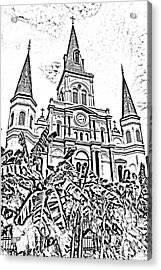 St Louis Cathedral Rising Above Palms Jackson Square New Orleans Photocopy Digital Art Acrylic Print by Shawn O'Brien