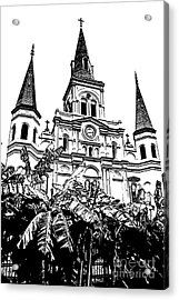 St Louis Cathedral Rising Above Palms Jackson Square New Orleans Stamp Digital Art Acrylic Print by Shawn O'Brien