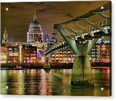 St Pauls Catherderal And Millennium Footbridge - Night - Hdr Acrylic Print by Colin J Williams Photography