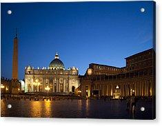 St. Peter's Basilica At Night Acrylic Print by David Smith