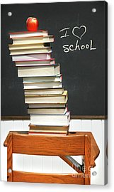 Stack Of Books On An Old School Desk  Acrylic Print by Sandra Cunningham