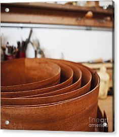 Stack Of Wooden Bowls Acrylic Print by Jetta Productions, Inc