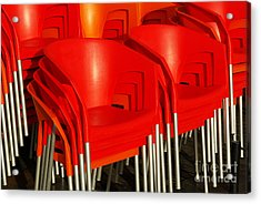 Stacked Chairs Acrylic Print by Carlos Caetano