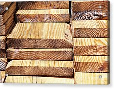 Stacked Wooden Planks Acrylic Print by Skip Nall
