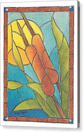 Stained Glass Cattails Acrylic Print
