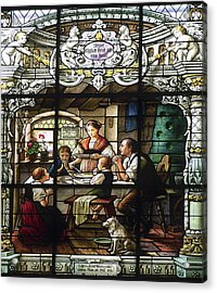 Stained Glass Family Giving Thanks Acrylic Print by Sally Weigand