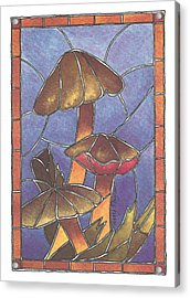 Stained Glass Mushrooms Acrylic Print
