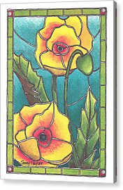 Stained Glass Poppies Acrylic Print