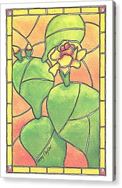 Stained Glass Prickly Pear Acrylic Print