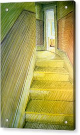 Stairwell In Malden Apartment 1978 Acrylic Print by Nancy Griswold