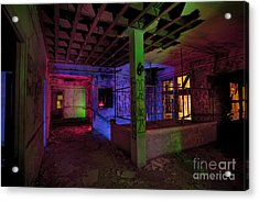 Stairwell Of The Stamford Hotel Acrylic Print by Keith Kapple