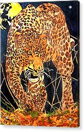 Stalking Leopard Acrylic Print by Mike Holder