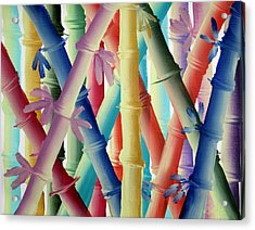 Acrylic Print featuring the painting Stalks Of Color by Kathy Sheeran