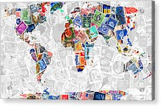 Stamps Of The World Map . V2 Acrylic Print by Wingsdomain Art and Photography
