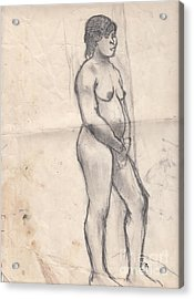 Standing Nude Acrylic Print by Brian Francis Smith
