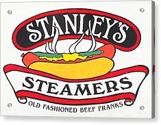 Stanley's Steamers Hot Dog Sign - 5d17929 - Painterly Acrylic Print by Wingsdomain Art and Photography